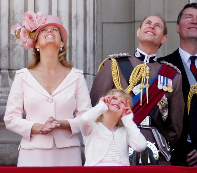 Lady Louise matched in pink with her mother Countess Sophie at Trooping the Colour in 2011.