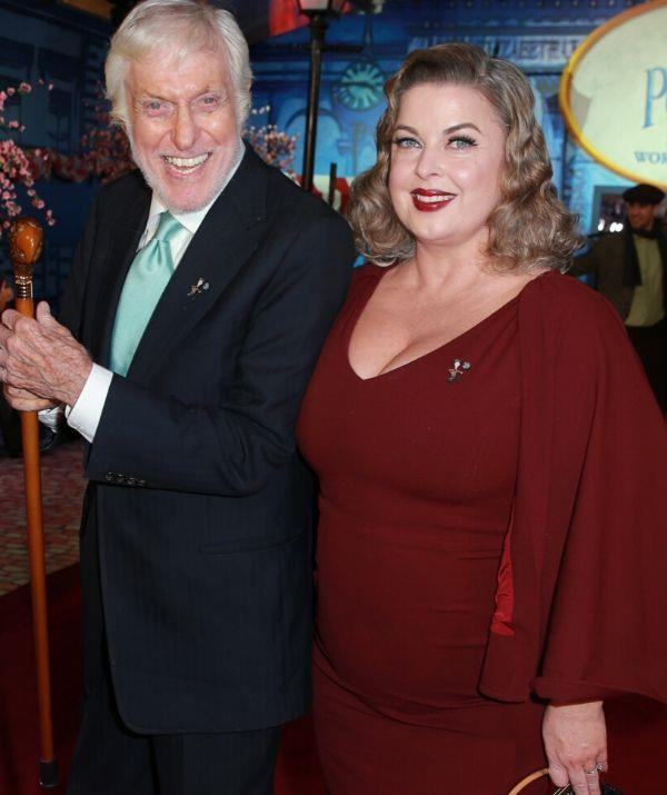 """**DICK VAN DYKE, 95, & ARLENE SILVER, 49: 46 YEARS**  <br><br> """"She's very mature for her age and I'm very immature for my age, so it's just about right,"""" Dick admits."""
