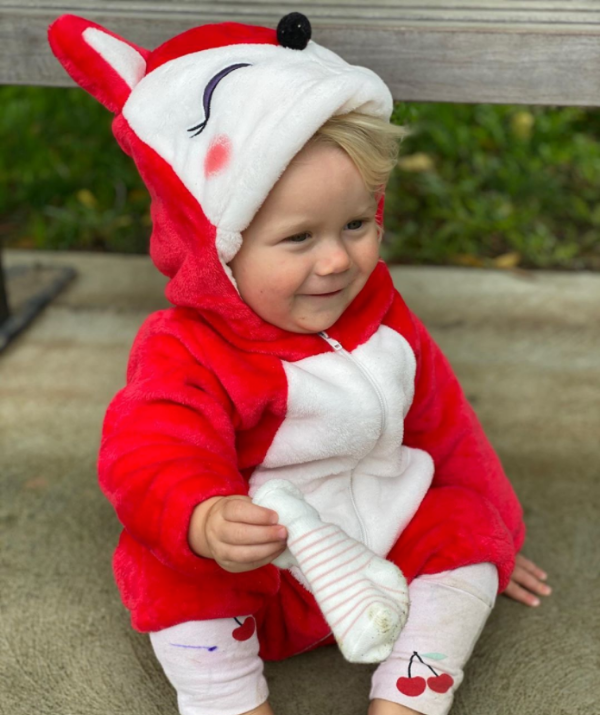 **Carrie Bickmore**<br><br> Carrie thought she had bought an adorable bunny outfit ready for the Easter festivities, turns out it was a fox onesie – but it was cute nonetheless!