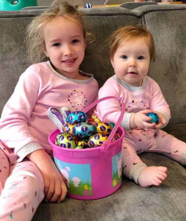 **Fifi Box** <br><br> Fifi's adorable daughters, Trixie and Daisy, were quick to jump into the chocolate eggs.