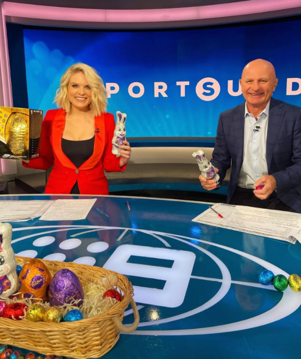**Erin Molan** <br><br> While most of us spread the Easter joy at home, Erin Molan was sharing a love of chocolate eggs at work.