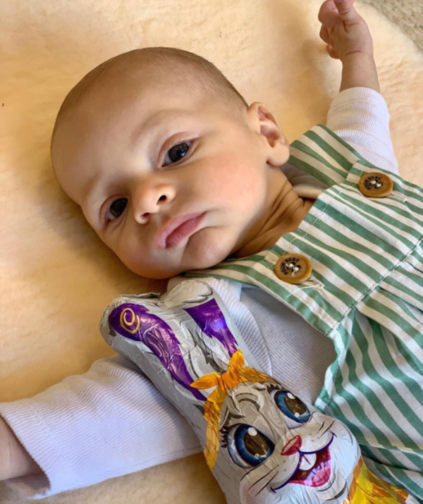 """**Sylvia Jeffreys and Peter Stefanovic** <br><br> Sylvia and Peter celebrated their first Easter with their """"Baby Bear"""" and sharing this sweet snap to mark the occasion."""