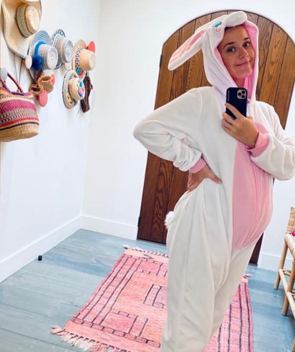 **Katy Perry** <br><br> Not waiting for the Easter bunny to visit during self-isolation, Katy Perry and her baby bump took on the job.