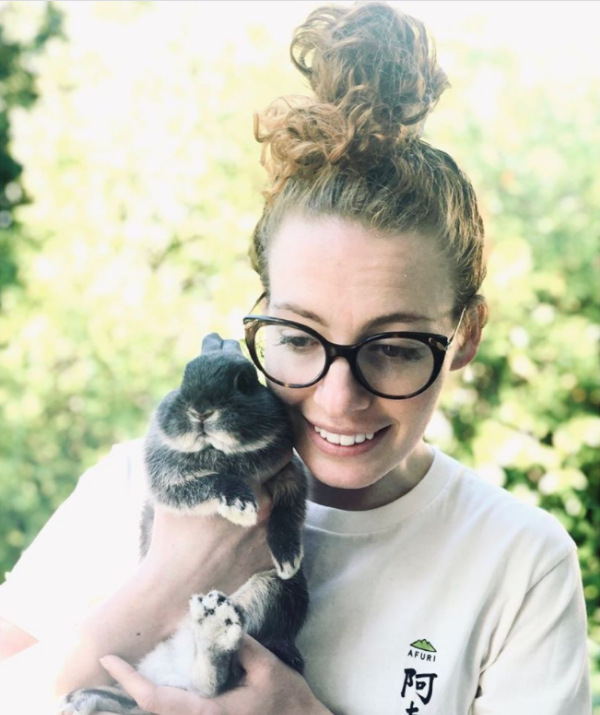 **Emma Watkins**<br><br>  The Yellow Wiggle Emma Watkins captured her very own Easter bunny – cute!