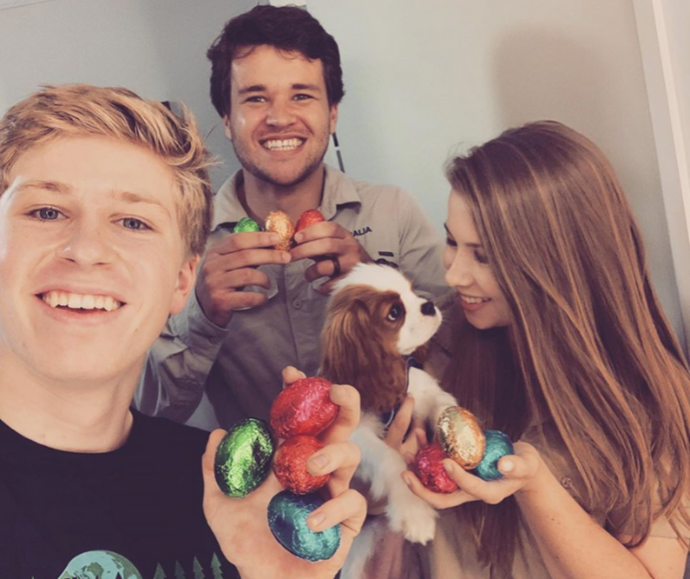 Newly married Bindi Irwin and Chandler Powell tuck into some eggs with Bindi's little brother Bob and their cute pooch.