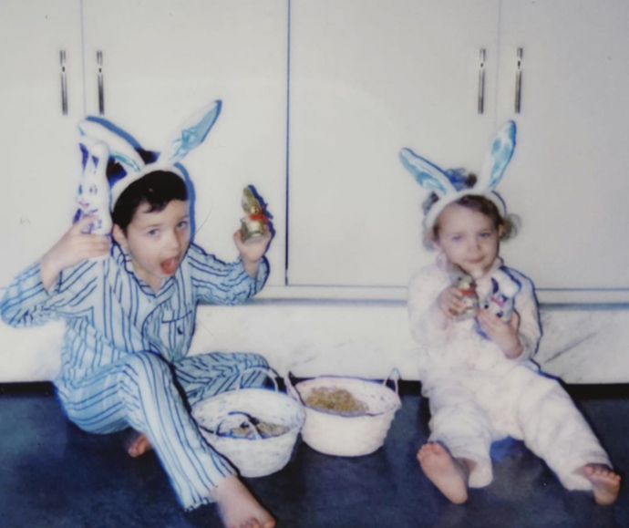 """**Hamish and Zoë Foster-Blake**<br><br> Zoë Foster-Blake shared her honest Easter tips.   """"Fun tip for siblings: even if you have exactly the same number of eggs, fight about it all day anyway!"""""""
