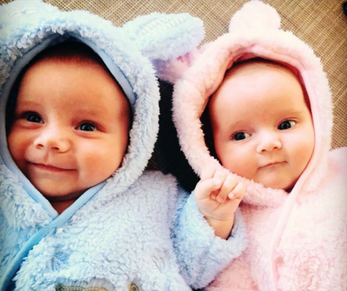 **David Campbell** <br><br> Our hearts are melting over this throwback pic David Campbell shared of the twins first Easter.