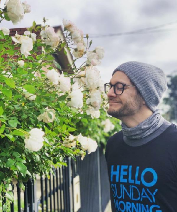 """**Rob Mills**<br><br> The *Neighbours* star took the long weekend to relax and """"stop to smell the roses."""""""