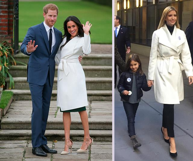 On the day she voted for her father to become the President, Ivanka Trump donned a chic white coat. Just a year later, Meghan Markle stepped out a similar design for her and Prince Harry's engagement photo call.