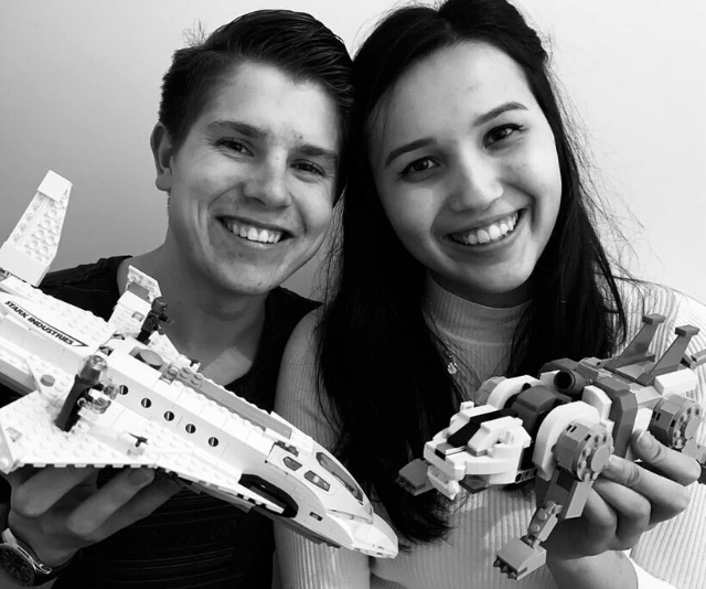 These two cuties were united by their mutual love of Lego.