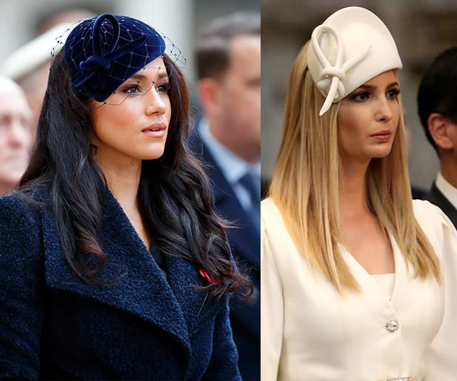 When Ivanka visited London on a state visit with the President and First Lady, she donned a white hat with a knot design. And just a few months later, Meghan wore a similar headpiece to the 91st Field of Remembrance in the British capital.