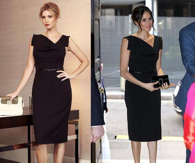 There are around eight years difference between the photos, but both know the value of a timeless LBD.