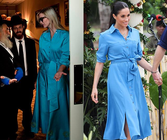 Maybe we need to add a blue shirt dress to our wardrobes.