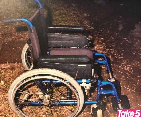 Mum's wheelchair in the park.