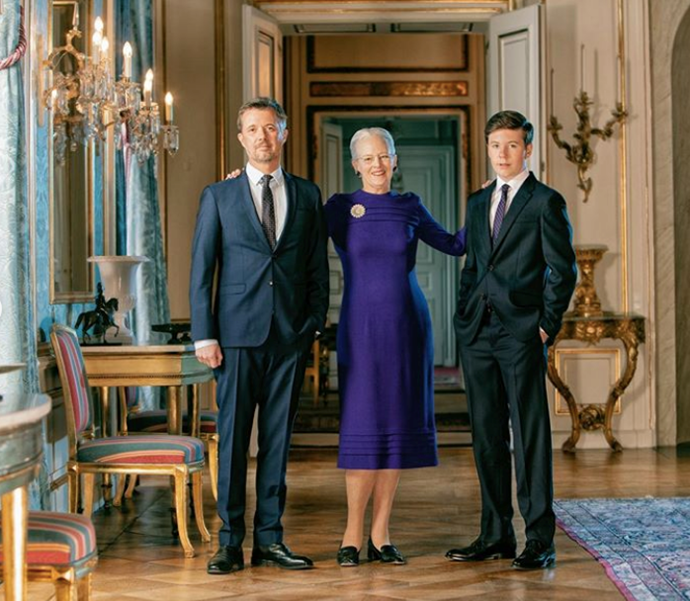 The Danish royals are seen in a grand residence for the official new portraits.