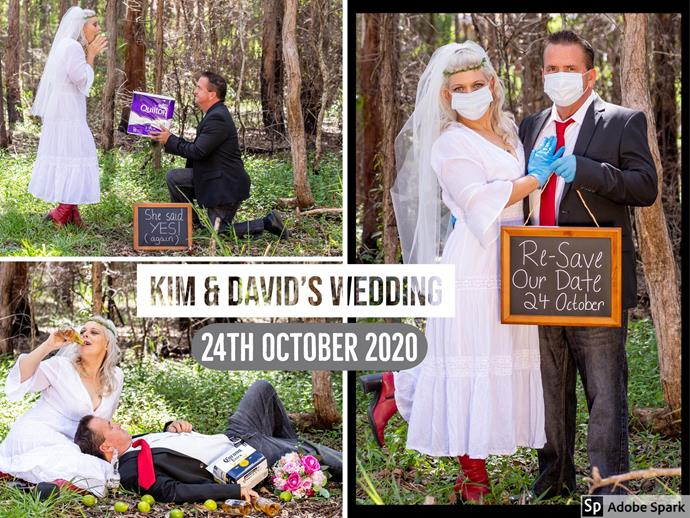 Still not sure about going ahead with your wedding? Do what Kim Henrickson and her partner David Woolston did and have a corona-themed postponement photo shoot!