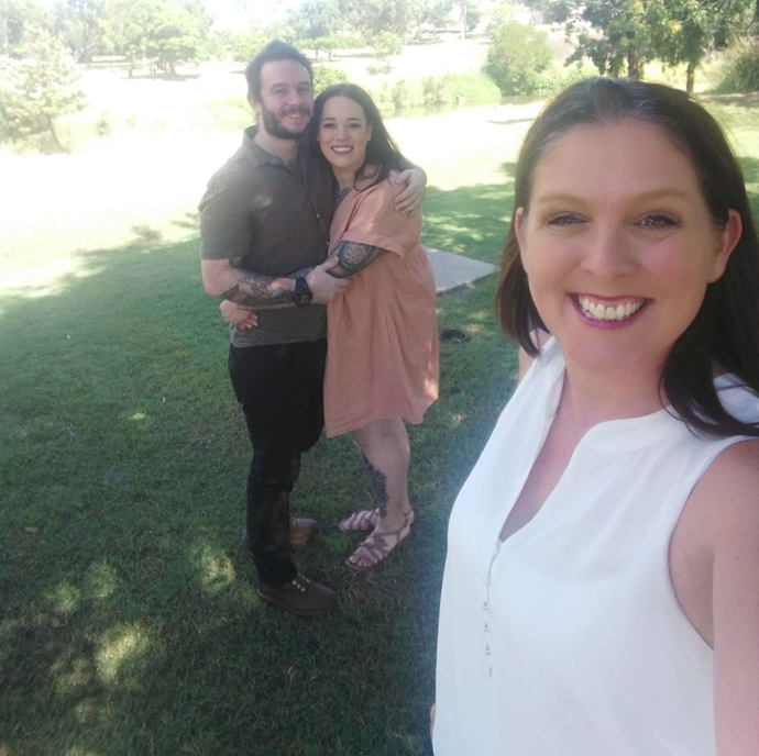 Celebrants like Brisbane's Ketrina Coffey are still marrying couples in social distancing ceremonies in locations like parks. Newlyweds Emma and Ben (pictured) had their mums as their witnesses, aww!
