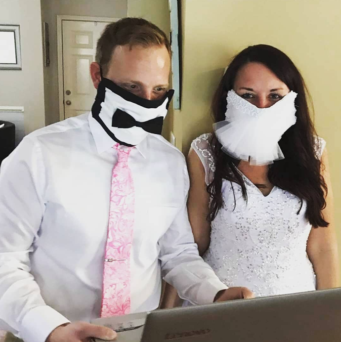 Or you can always have special bride and groom face masks made up.