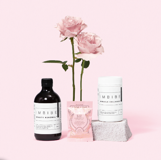 "Byron Bay-based skincare brand IMBIBE has saved you the search time and come up with the ultimate mothers day combo, consisting of their Miracle Collagen, Beauty Renewal Probiotic Concentrate, a complimentary Loco Love Wild Rose ganache chocolate and  complimentary gift wrapping. $80, [order it online here](https://imbibeliving.com/products/the-beauty-set|target=""_blank""