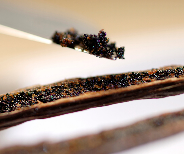 Once you slice the pod open, you'll find lots of vanilla beans inside.