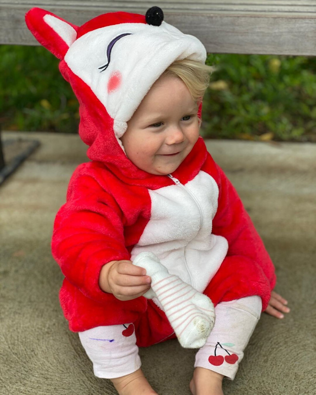 """Thought it was a bunny outfit. Appears to be a fox #stillcute #happyeaster,"" Carrie wrote on Instagram alongside this adorable photo of Addie."