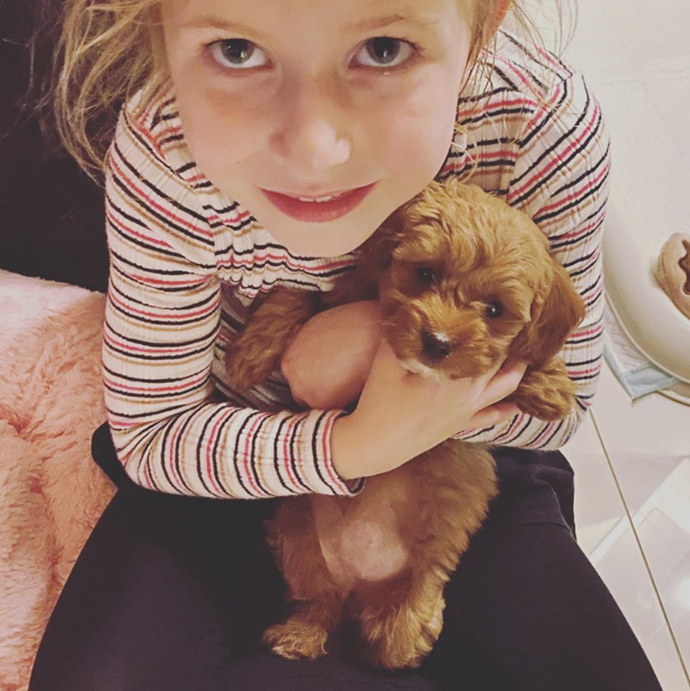 *Big Brother* host Sonia Kruger and her daughter Maggie have welcomed puppy Teddy to their family.