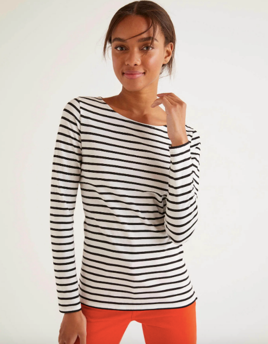 "This crew-neck style from Boden is comfortable, chic and perfect for those couch-based video conference calls. $50, [buy it online here](https://www.bodenclothing.com.au/en-au/long-sleeve-breton-ivory-black/sty-j0498-bla|target=""_blank""