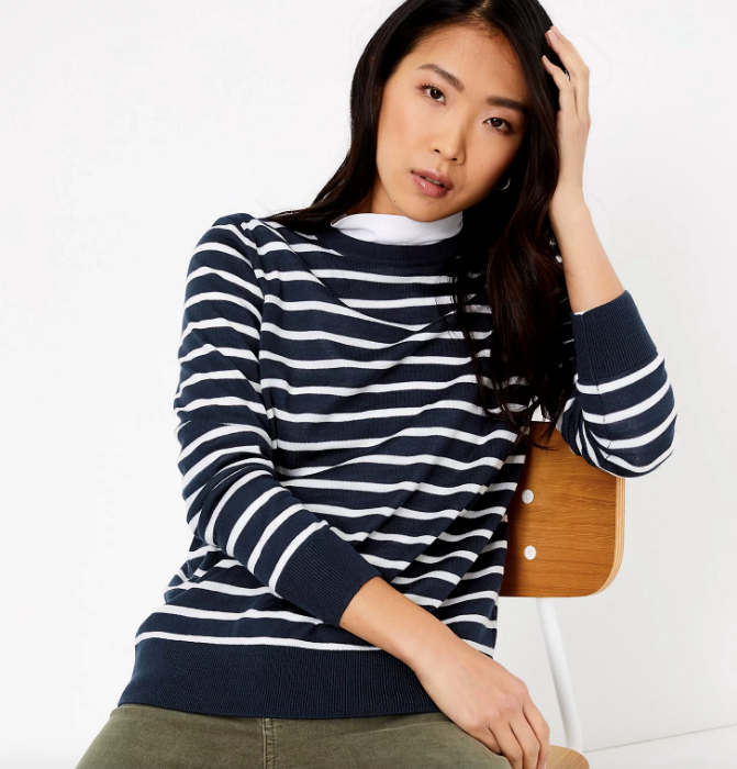 "If you're after something a little darker toned, this Marks & Spencer pure merino jumper is the perfect at-home addition. $62.50, [buy it online here](https://www.marksandspencer.com/au/pure-merino-wool-striped-crew-neck-jumper/p/P60430069.html|target=""_blank""