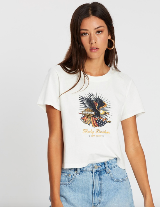 "Or if you're wanting to mix things up a tad, this Harley Davidson printed tee exudes Meghan-Markle's cool girl vibe without going overboard. $59, [buy it online via The Iconic here](https://www.theiconic.com.au/ss-vj-front-eagle-back-b-s-crop-tee-1013670.html|target=""_blank""