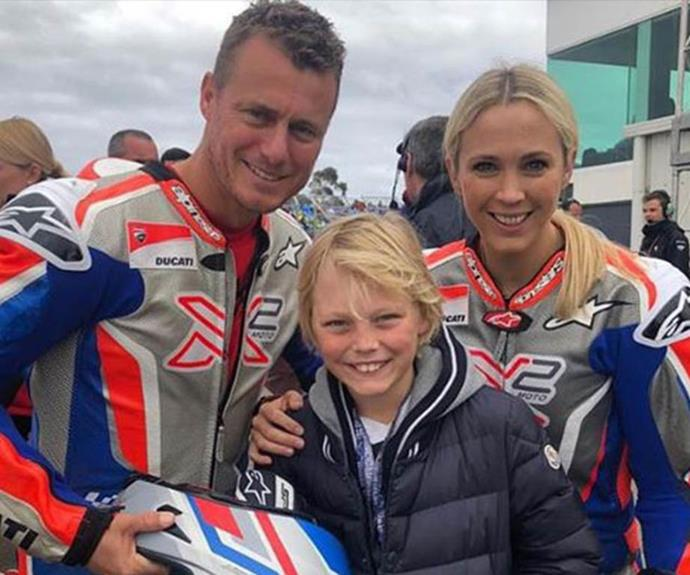 Lleyton and Bec with their only son Cruz at a motorsports event.