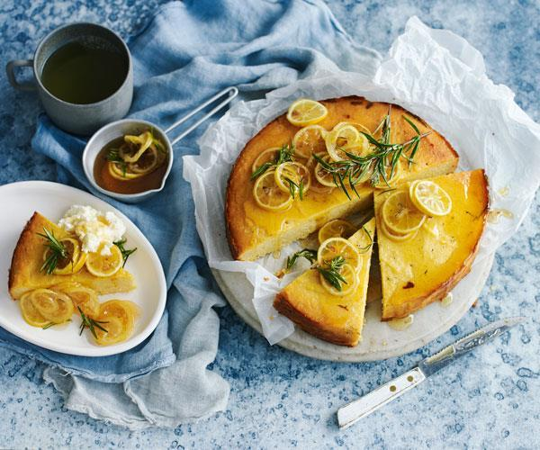 "**Polenta and ricotta cake with rosemary lemon syrup** <br><br> Soaked in deliciously sweet lemon and rosemary syrup and served with whipped ricotta, this polenta cake is subtle, moist and perfect with a cuppa for afternoon tea. <br><br> **[Read the full recipe here.](https://www.womensweeklyfood.com.au/recipes/polenta-cake-31485|target=""_blank"")**"