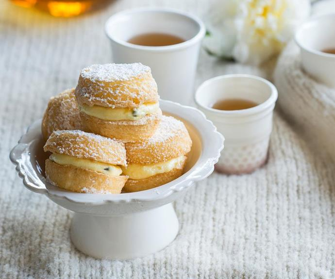 "**Passionfruit kisses** <br><br> These little slices of heaven are a mix between a meringue and a cake. They're absolutely divine! <br><br> **[Read the full recipe here.](https://www.womensweeklyfood.com.au/recipes/gluten-free-passionfruit-kisses-28535|target=""_blank""