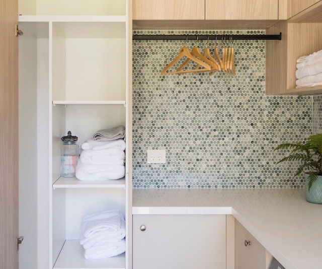 Aimee and Kayne – as well as the judges – were particularly impressed with the choice of tiling in the laundry once Laith and George took over.