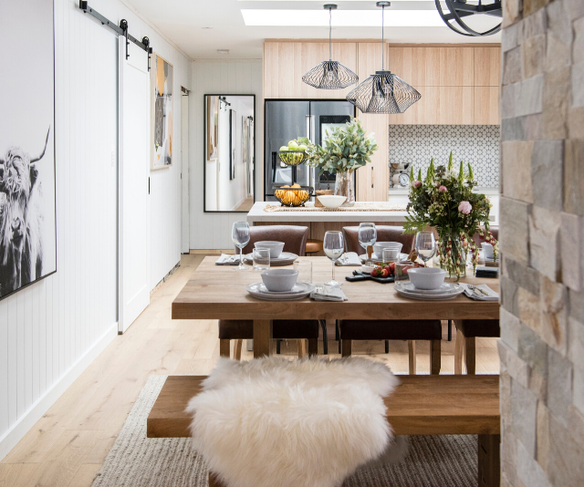 """Despite the table being slightly too large for the space, Kimmy and Rhi's dining room was praised as """"very clever""""."""