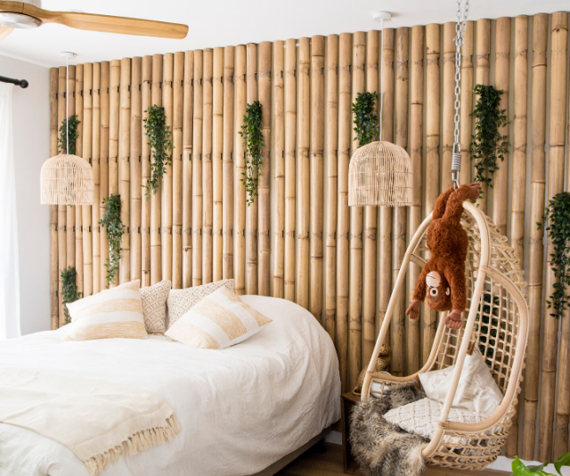 Laith and George took a risk introducing bamboo into the bedroom to create a rainforest feel – but it paid off.