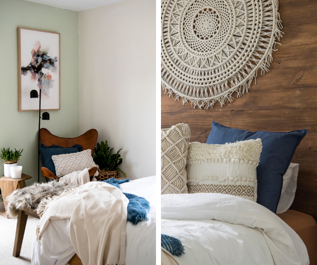 Bradley and Lenore took on the spare bedroom and pulled it off! The feature wall was a beautiful highlight.