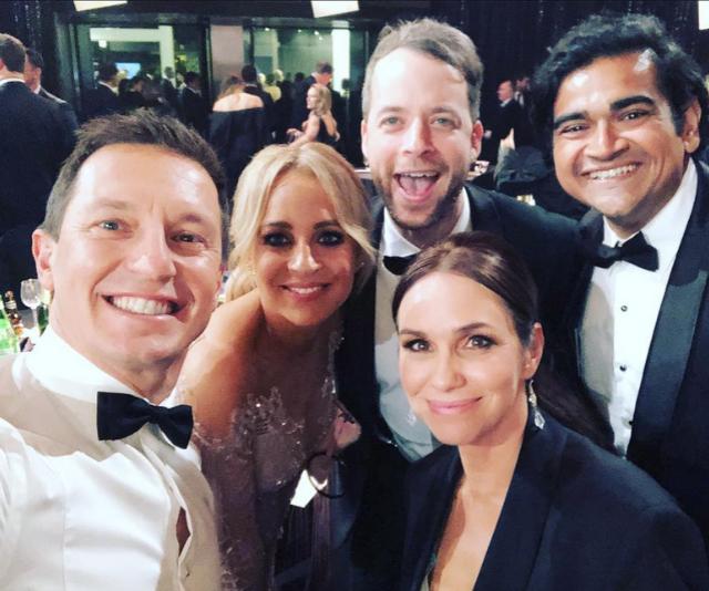 Rove, Carrie Bickmore, Hamish Blake, Dilruk Jayasinha and wife Tasma at the 2018 TV WEEK Logie Awards.