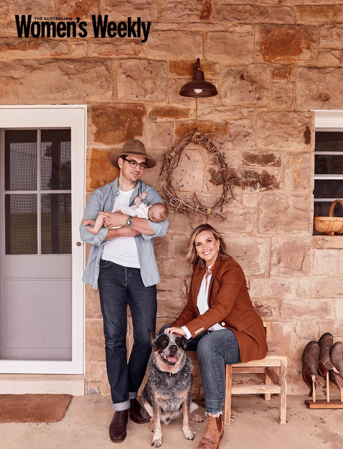 Edwinas husband Neil Varcoe, with Molly, Edwina and their faithful pup outside their country home.