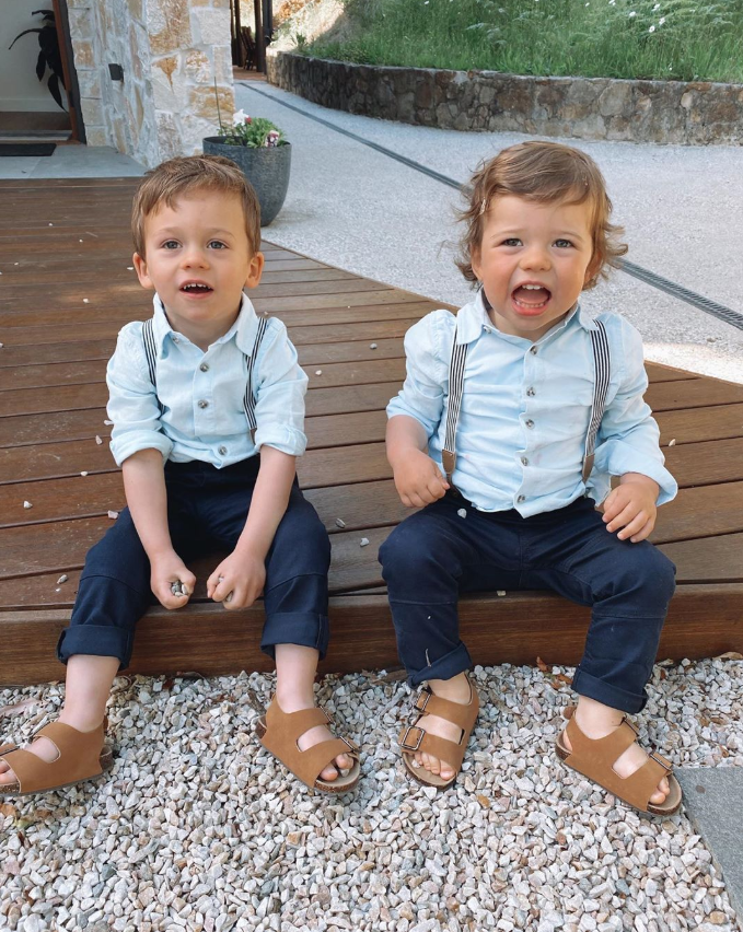 Connor and his cousin looking adorable in their matching outfits.