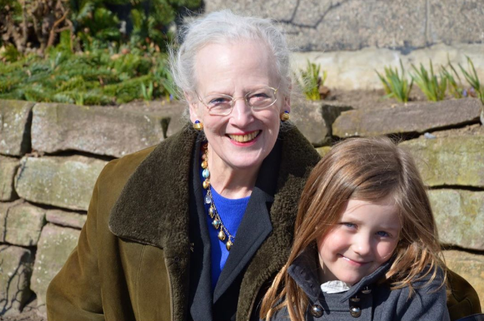 With her paternal grandmother, Queen Margrethe.