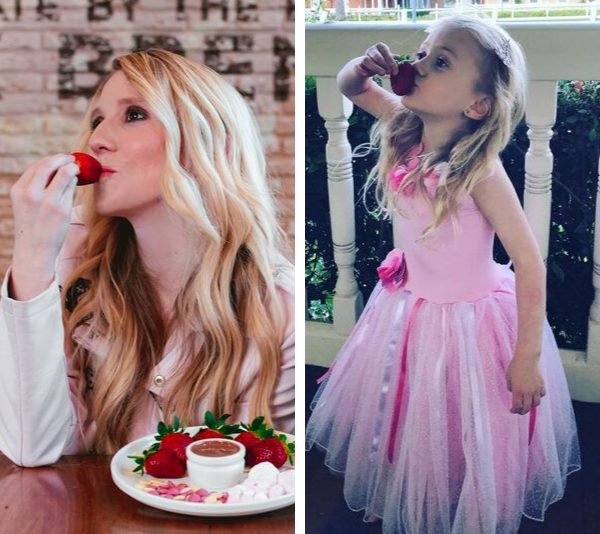 The apple doesn't fall far from the tree and little Skylah has perfected the art of Strawberry Kisses.