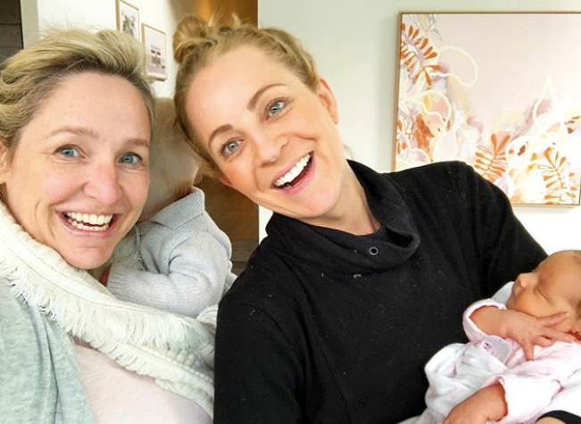 More famous friends! Carrie Bickmore paid the new mum and bub a visit, and clearly relished in her first cuddle.