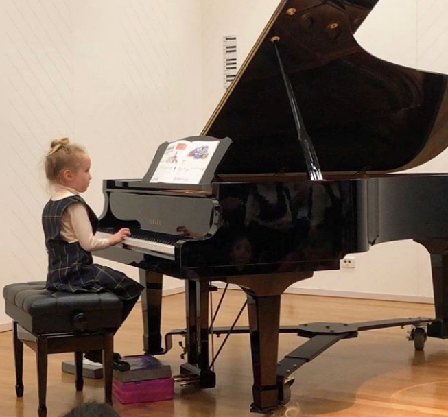 Like her mum, Trixie has many talents - this snap from her first piano recital was case in point!