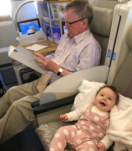 No gravity? No worries! Daisy clearly loved her airplane experience during a family trip in 2019.