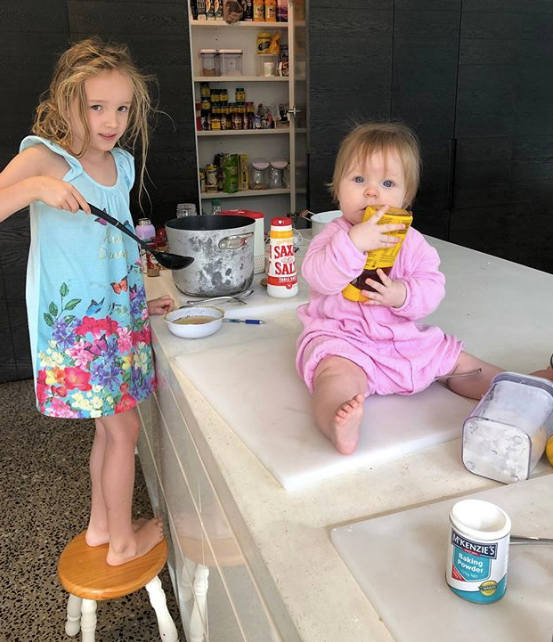 What's going on here? Looks like Trixie and Daisy are MasterChefs in the making...