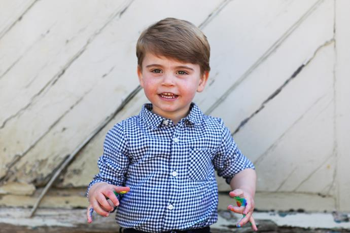 Such a clean shirt, surely headed for a rainbow paint disaster?! Brave choice from Louis (and his mum!)