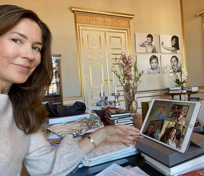 Crown Princess Mary provided fans with a glimpse into her working-from-home set-up.