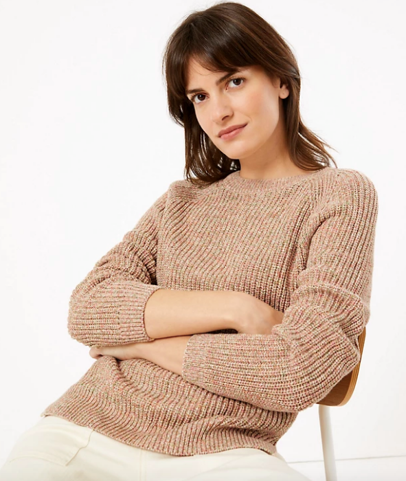"This crew neck relaxed knit from Marks & Spencer can be dressed down with trackies at home, or up with a midi skirt for our eventual return to the office. $52.50, [buy it online here](https://www.marksandspencer.com/au/pure-cotton-relaxed-jumper/p/P60443266.html|target=""_blank""