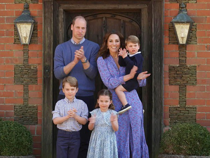 The Cambridge family dressed in shades of blue in support of the NHS workers.