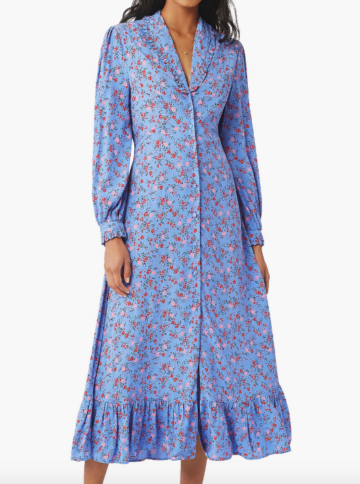"Kate's frock is designed by British label Ghost, and is known as the 'Anouk' dress. It's miraculously still available online (for now!) via John Lewis and Partners for $183. [Order it online here](https://www.johnlewis.com/au/ghost-anouk-floral-satin-midi-dress-soft-blue-multi/p4875057|target=""_blank""